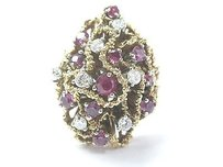 Other Fine Gem Ruby Diamond Cluster Yellow Gold Jewelry Ring 14kt 1.40ct