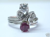 Fine Gem Ruby Diamond Wg Jewelry Ring 14kt 1.01ct