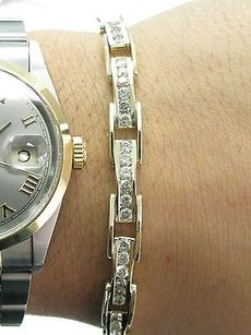 Other Fine Round Cut Diamond Tennis Bracelet Channel Set Yellow Gold 14kt 4.00ct