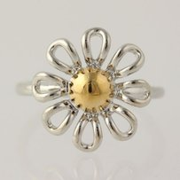 Other Flower Ring - Sterling Silver 925 2-toned Womens 6.25 Flower Jewelry