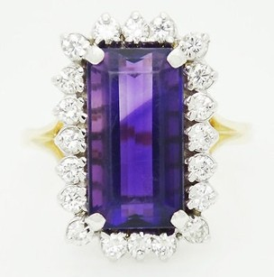 Fortunoff 14k Yellow Gold Carat Vs G Diamond Amethyst Ring 9.25 R168