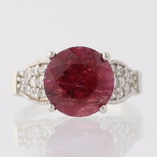 Genuine Ruby White Topaz Cocktail Ring Sterling Silver Ornate 5.10ctw