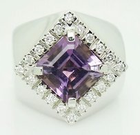 Other Giovanni Ferraris 18k White Gold Vs G Diamond Amethyst Ring 8.25 R138