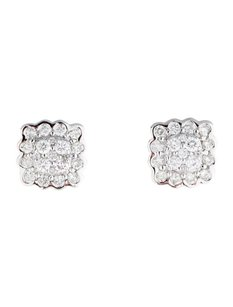 Other Glk 14k White Gold 0.78ct Diamnd Square Stud Earrings