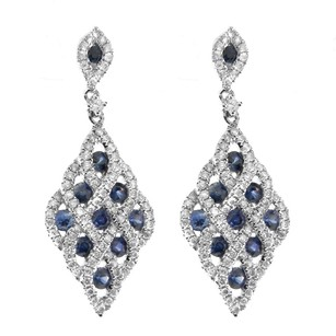 Other Glk 14k White Gold 1.22ct Sapphire And Diamond Drop Earrings