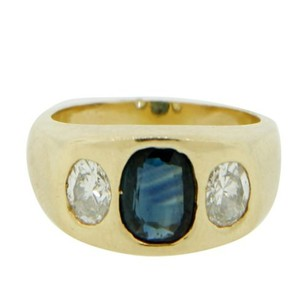 Other Glk 14k Yellow Gold Diamond And Sapphire Ring