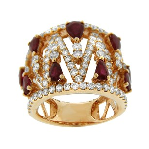 Other Glk 18k Rose Gold 2.31ct Diamond And Ruby Embellished Ring