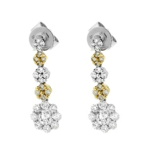 Other Glk 18k Two-tone Gold 1.336ct Diamond Five Tier Flower Drop Earrings