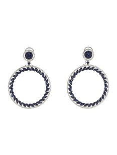 Other Glk 18k White Gold 0.96ct Diamond And Sapphire Hoop Earrings