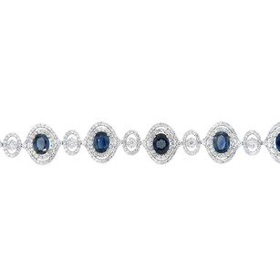 Other Glk 18k White Gold 15.26ct Sapphire And Diamond Embellished Bracelt