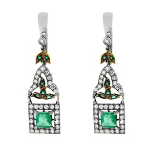 Other Glk Two Tone Diamond And Emerald Drop Earrings