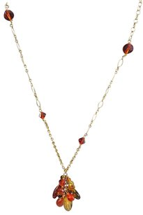 Other Gold Tone Chain 1420 Gold Filled Orange Yellow Crystal Pendent Necklace 24