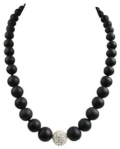 Other Graduated Matte Black Agate Necklace with Center Crystal Bead
