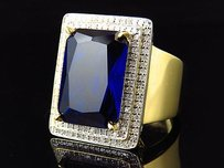 .925 Yellow Gold Finish Royal Lab Created Sapphire Center Diamond Ring 1.0ct