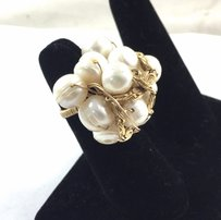 Hand-made Ring 14k Gold Fill Wire Wrapfresh Water Pearls 712