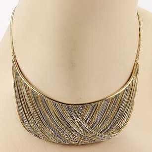 Handmade 18k Two Tone Gold Mesh Dangle Necklace