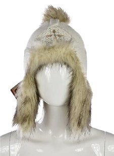 Other Screamer Womens Ivory Trapper Hat Os Woven Casual Chunky Knit