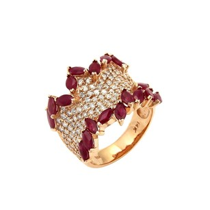 Hb Signed 2.30ct Diamonds Ruby 14k Rose Gold Wide Fancy Band Ring-size