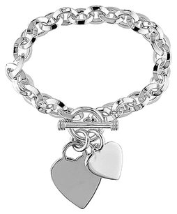 Other Sterling Silver Double Heart Love Charm Oval Link Bracelet 7.5