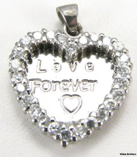 Heart Pendant - 925 Sterling Silver Cz Engraved Love Forever Estate Fashion