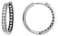 Other Sterling Silver 12 Ct Diamond Tw Hoop Earrings I3 Covered In Black Rhodium