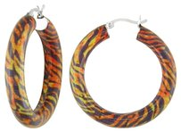 Sterling Silver Tiger Striped Hoop Earrings