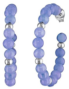 Other Sterling Silver 4 Mm Lavender Synthetic Dyed Jade Hoop Earring With Findings