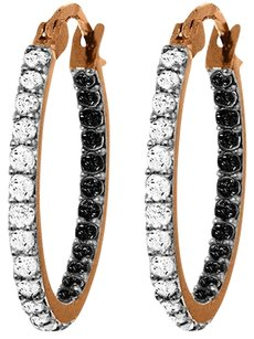 0.81 CT 14k Rose Gold Hoop Earring Black & White Diamonds