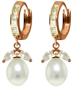 10.3 CT 14K Rose Gold Natural White Topaz and Pearl Earrings