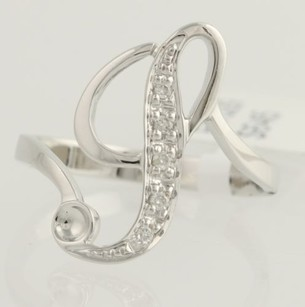 Initial P Cocktail Ring - 18k White Gold Bypass 12 Genuine .04ctw