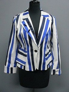 Other Isabel White Blue Striped Long Cuffed Sleeves One Button Blazer Sm961