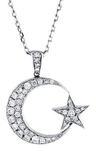 Islam Crescent and Star Custom-Made Diamond Pendant in 14k White Gold