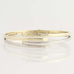 Italian Bangle Bracelet 34 - 14k Yellow White Gold Bypass Design