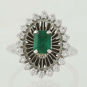 Jabel Emerald Diamond Ring - 18k White Gold May Birthstone Halo 1.00ctw