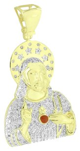 Other Jesus Christ Mens Pendant Gold Over Sterling Silver Real Diamonds .88 Carat