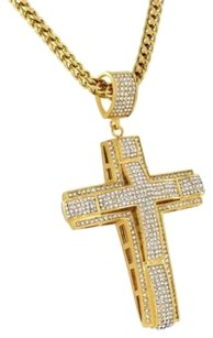 Jesus Cross Pendant Necklace Set Simulated Diamonds Gold Over Stainless Steel