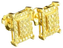 Other Gold Square Earrings Canary Lab Created Diamonds 14k Finish Mens Womens Screw On