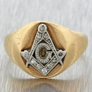 1920s Antique Art Deco Estate 14k Yellow Gold Platinum Diamond Freemason G Ring