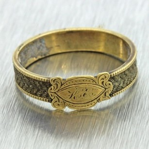 Damaged 1880s Antique Victorian Estate 14k Solid Yellow Gold Mourning Ring