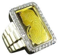 24k Suisse Pamp 14k Yellow Gold Mens Real Diamond Presidential Ring 1.50ct 27mm