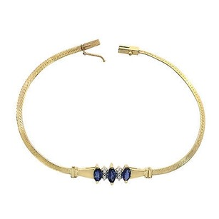 0.04 Carat Diamond And 0.75 Carat Sapphire 14k Yellow Gold Bracelet