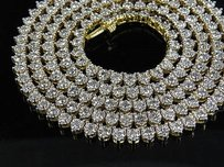 Other 14k Yellow Gold Martini Prong 1 Row Genuine Diamond Chain Necklace Ct 26