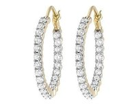 Other Ladies 10k Yellow Gold Genuine Diamond Inside-out 1 Hoop Earrings 2.0ct