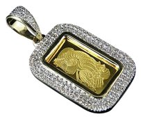 Other 24k Yellow Gold 1g Lady Fortuna Suisse Pamp Bar Diamond Pendant Charm .42ct 1.2