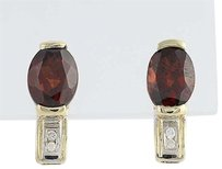 Garnet Diamond Earrings - 14k Yellow Gold January Birthstone Pierced 2.82ctw