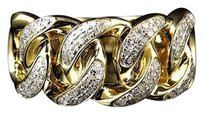 Other Mens 10k Yellow Gold Genuine Mm Diamond Cuban Link Pinky Ring 0.60 Ct