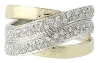 Other Diamond Crossover Band - 14k Yellow White Gold Womens Ring .50ctw