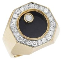 Mens Black Onyx Floating Genuine Diamond 10k Yellow Gold Pinky Ring 1.0ct 18mm