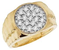 Other Mens 10k Yellow Gold Genuine Diamond Pinky Presidential Shank Ring .12ct 15mm