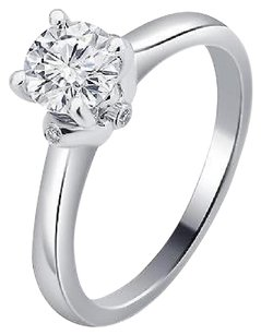 Other Ladies 14k White Gold Genuine Diamond Round Solitaire Engagement Ring 1.03ct